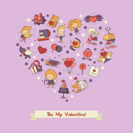 romance love: Flat design vector Valentines day love and romance icons heart postcard Illustration