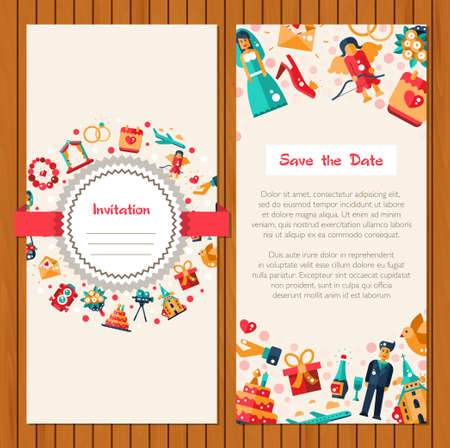 marriage invitation: Flat design vector wedding and marriage proposal icons and elements invitation card template