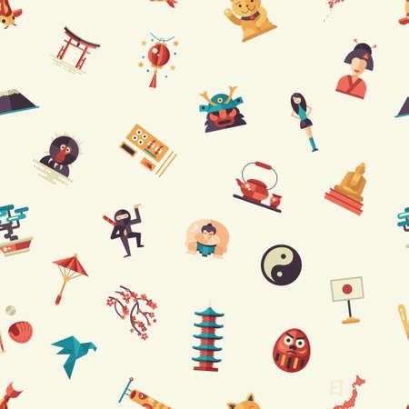 Vector flaches Design Japan Reise-Ikonen und Infografiken Elemente Muster mit Sehenswürdigkeiten und berühmte japanische Symbole Vektorgrafik