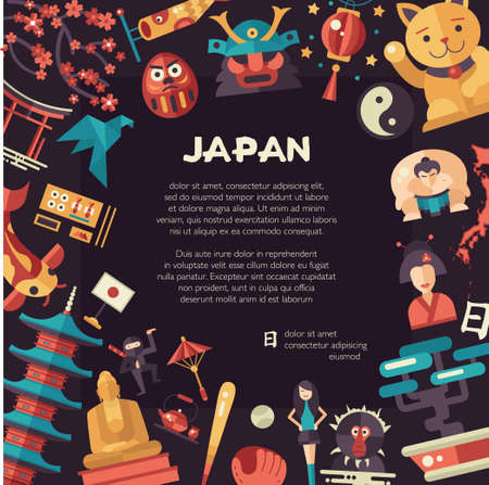 animal silhouette: Vector flat design Japan travel postcard and infographics elements with landmarks and famous Japanese symbols