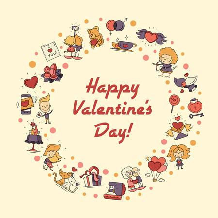 romance love: Flat design vector Valentines day love and romance icons circle postcard Illustration