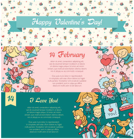 romance love: Flat design vector Valentines day love and romance icons web design banners set Illustration