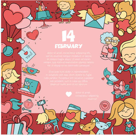 romance: Flat design vector Valentines day love and romance icons  postcard