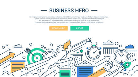 design objects: Illustration of vector modern line flat design business composition and infographics elements with super hero businessman