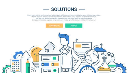 design solutions: Illustration of vector modern line flat design solutions composition and infographics elements with a man and business tools Illustration
