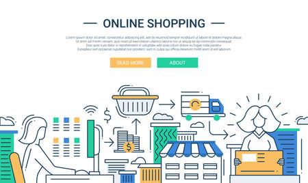 Illustrazione di disegno vettoriale piatta composizione shopping online linea moderna e infografica elementi con procedura di acquisto on-line