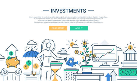Ilustración del vector de línea moderna inversiones en diseño y composición plana de infografía elementos con una mujer que riega un árbol de dinero y aumento de los beneficios