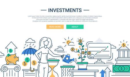 banco dinero: Ilustración del vector de línea moderna inversiones en diseño y composición plana de infografía elementos con una mujer que riega un árbol de dinero y aumento de los beneficios Vectores