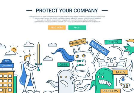 Ilustración del vector de diseño plano de línea moderna proteger su empresa y la composición de infografía elementos con el empresario súper héroe y reto empresarial