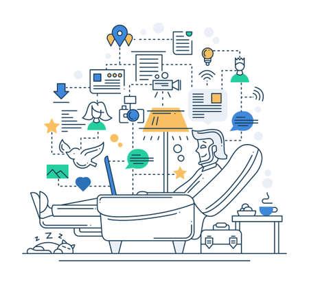 Illustration of vector modern line flat design internet communication composition and infographics elements with man having rest