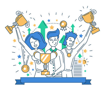 career success: Illustration of vector modern line flat design composition and infographics elements with happy winners Illustration