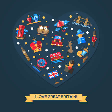 british touring car: I love Great Britain vector flat design heart postcard template with Great Britain travel, tourism icons and infographics elements