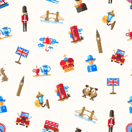 britain: Vector flat design seamless pattern with Great Britain travel, tourism icons and infographics elements Illustration