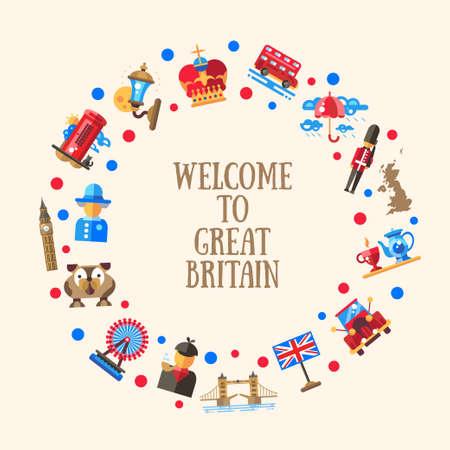 Willkommen in Großbritannien Vektor flache Design Kreis Postkartenschablone mit Großbritannien Reisen, Tourismus-Symbole und Infografiken Elemente
