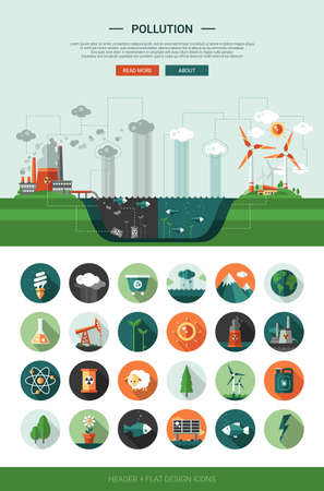 ecology icons: Modern vector flat design conceptual ecological icons and infographics elements set with a header
