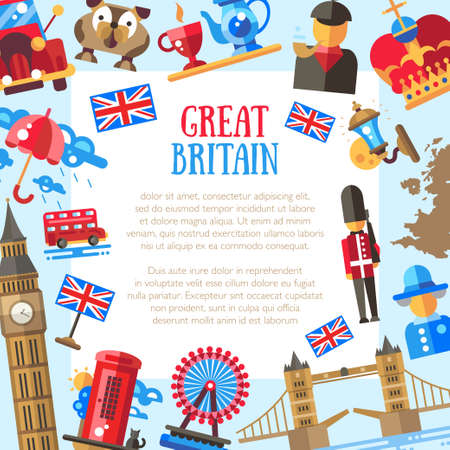 britain: Great Britain travel vector flat design postcard template with Great Britain travel, tourism icons and infographics elements Illustration
