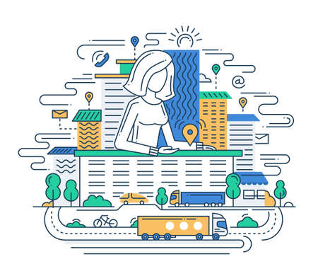 travel icon: We Are Here - Illustration of vector modern line flat design location composition and infographics elements with a woman showing the direction