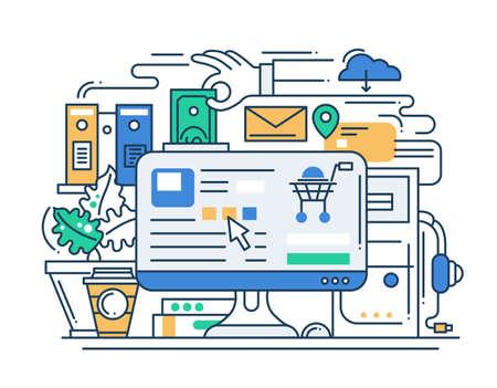 lối sống: Minh họa vector dây chuyền hiện đại thiết kế phẳng thêm vào thành phần giỏ hàng với các yếu tố infographics mua sắm