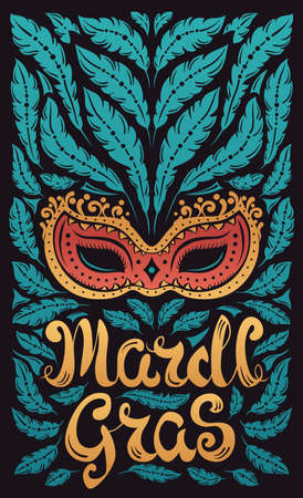 parades: Mardi Gras celebration poster with venetian mask and feathers and hand written letters