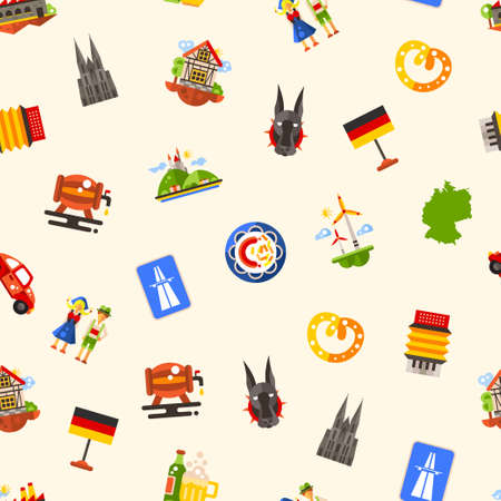 german tradition: Vector flat design Germany travel seamless pattern with icons and infographics elements of famous German symbols Illustration