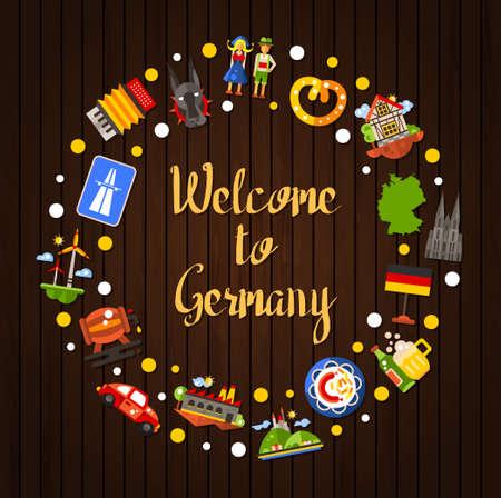 bandera de alemania: Bienvenido a Alemania - diseño plano vectorial Alemania viajan postal plantilla círculo con iconos y símbolos de infografía elementos de alemanes famosos