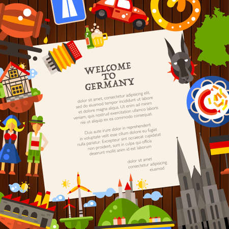 germanic people: Welcome to Germany - vector flat design Germany travel postcard template with icons and infographics elements of famous German symbols