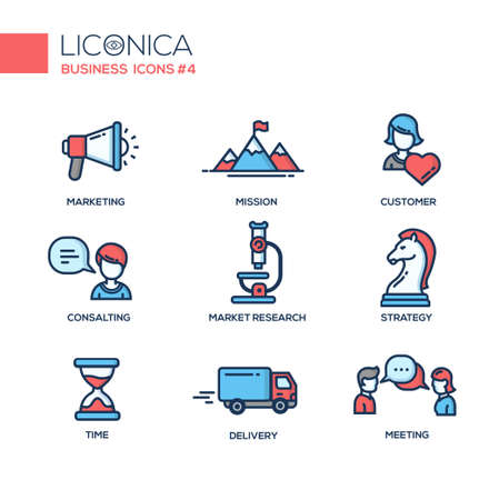 Set of modern vector office thin line flat design icons and pictograms. Collection of business infographics objects and web elements. Marketing, mission, customer, consulting, market, research, strategy, time, delivery, meeting Illustration