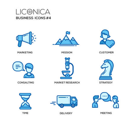 strategy meeting: Set of modern vector office thin line flat design icons and pictograms. Collection of business infographics objects and web elements. Marketing, mission, customer, consulting, market, research, strategy, time, delivery, meeting Illustration
