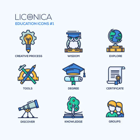 Set of modern vector education thin line flat design icons and pictograms. Collection of education infographics objects and web elements. Creative process, wisdom, explore, tools, degree, certificate, discover, knowledge, groups.