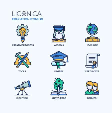 Zestaw wektora nowoczesnej edukacji cienka linia ikon płaska i piktogramów. Kolekcja edukacji infografiki obiektów i elementów sieci. Proces twórczy, mądrości, odkrywania, narzędzia, stopień, świadectwo, dowiedzieć się, wiedza, grupy.