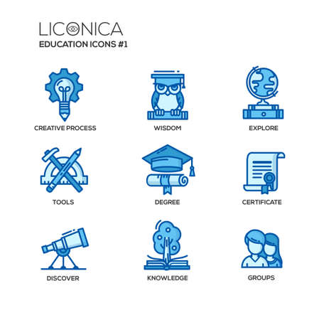 graphic presentation: Set of modern vector education thin line flat design icons and pictograms. Collection of education infographics objects and web elements. Creative process, wisdom, explore, tools, degree, certificate, discover, knowledge, groups.