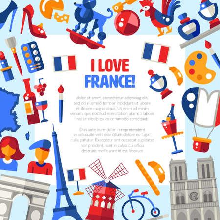 Ik houd van Frankrijk - Vector platte ontwerp Frankrijk reizen cirkel ansichtkaart met pictogrammen en infographics elementen, met bezienswaardigheden en beroemde Franse symbolen Stock Illustratie