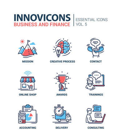 Set of modern vector office thin line flat design icons and pictograms. Collection of business and finance infographics objects and web elements. Mission, creative, process, contact, online, shop, awards, trainings, accounting, delivery, consulting