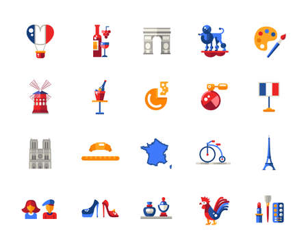 triumphal: Set of vector flat design France travel icons and infographics elements with landmarks and famous French symbols