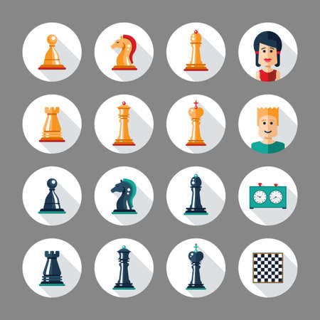mate: Set of vector flat design isolated named chess icons. Collection of the king, queen, bishop, knight, rook, pawn, board, clock and players Illustration