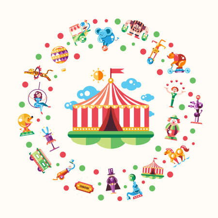 circus elephant: Postcard with modern flat design circus and carnival icons and infographics elements