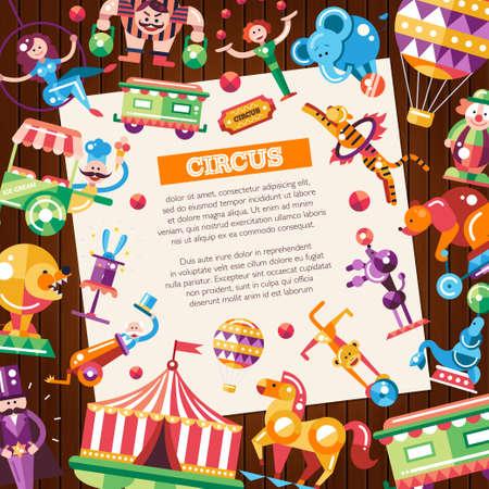 payasos caricatura: Postal con el circo y carnaval iconos modernos de diseño plano y elementos de infografía