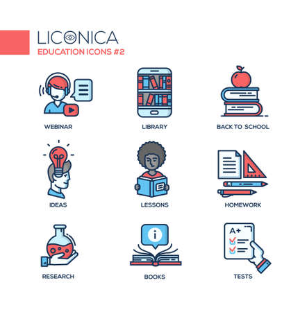 teaching material: Set of modern vector education thin line flat design icons and pictograms. Collection of education infographics objects and web elements. Webinar, library, back to school, ideas, lessons, homework, research, books, tests
