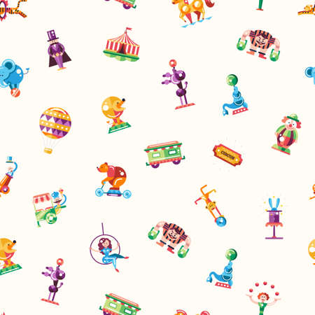 payasos caricatura: sin patr�n de vectores modernos de dise�o plano circo y carnaval iconos y elementos de infograf�a Vectores