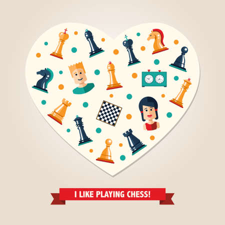 Heart postcard of vector flat design isolated named chess icons. Collection of the king, queen, bishop, knight, rook, pawn, board, clock and players Illustration