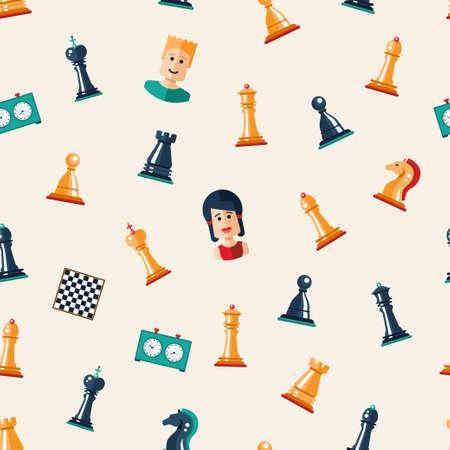Naadloos patroon van vector platte ontwerp geïsoleerd genaamd schaken iconen. Collectie van de koning, koningin, bischop, ridder, roek, pand, raad, klok en spelers