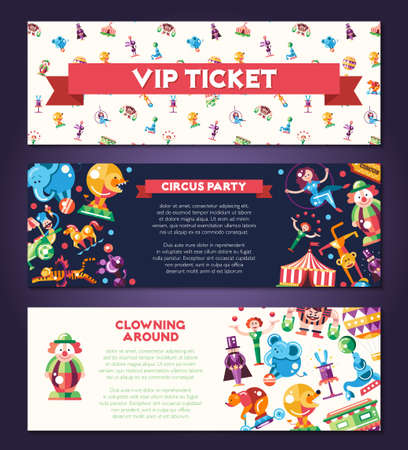cartoon circus: Banners set with modern flat design circus and carnival icons and infographics elements