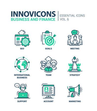 Set van moderne vector kantoor dunne lijn platte design iconen en pictogrammen. Het verzamelen van zakelijke en financiële infographics objecten en web-elementen. SEO, doelstellingen, vergadering, het internationale bedrijfsleven, team, strategie, ondersteuning, rekening, marketing