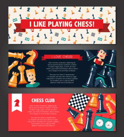 banderas del vector fijadas con diseño de ajedrez y jugadores de iconos planos