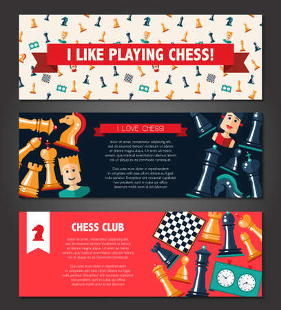 chess rook: Vector banners set with flat design chess and players icons