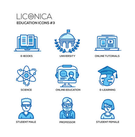 Set of modern vector education thin line flat design icons and pictograms. Collection of education infographics objects and web elements. E-books, university, online tutorials, science, online education, e-learning, student male, professor, student female