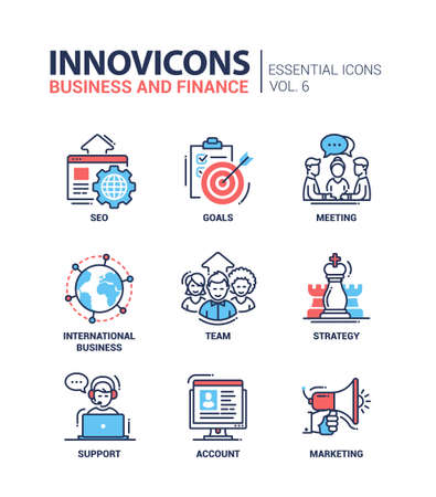 Set of modern vector office thin line flat design icons and pictograms. Collection of business and finance infographics objects and web elements. SEO, goals, meeting, international business, team, strategy, support, account, marketing