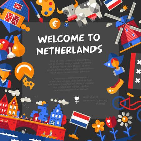 Vector plat ontwerp reizen Holland ansichtkaart met pictogrammen en infographics elementen, bezienswaardigheden en bekende Nederlandse symbolen