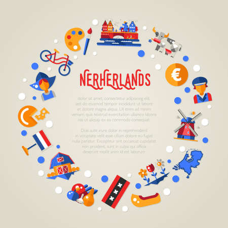 netherlandish: Vector flat design Holland travel circle postcard with icons and infographics elements, landmarks and famous Dutch symbols