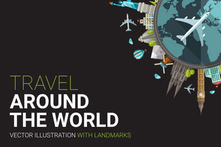 postcards: Vector illustration of flat design travel composition postcard with famous world landmarks icons